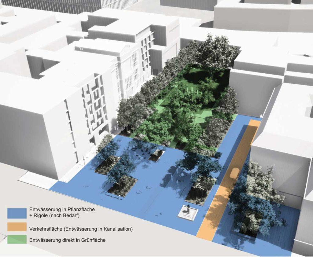 Hegelplatz gestion eaux pluviales